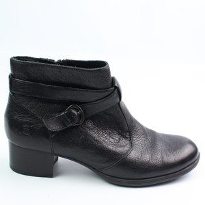 Born black leather buckle strap ankle boot
